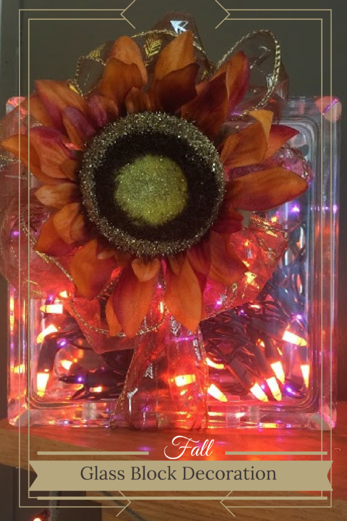 Fall Glass Block Decoration