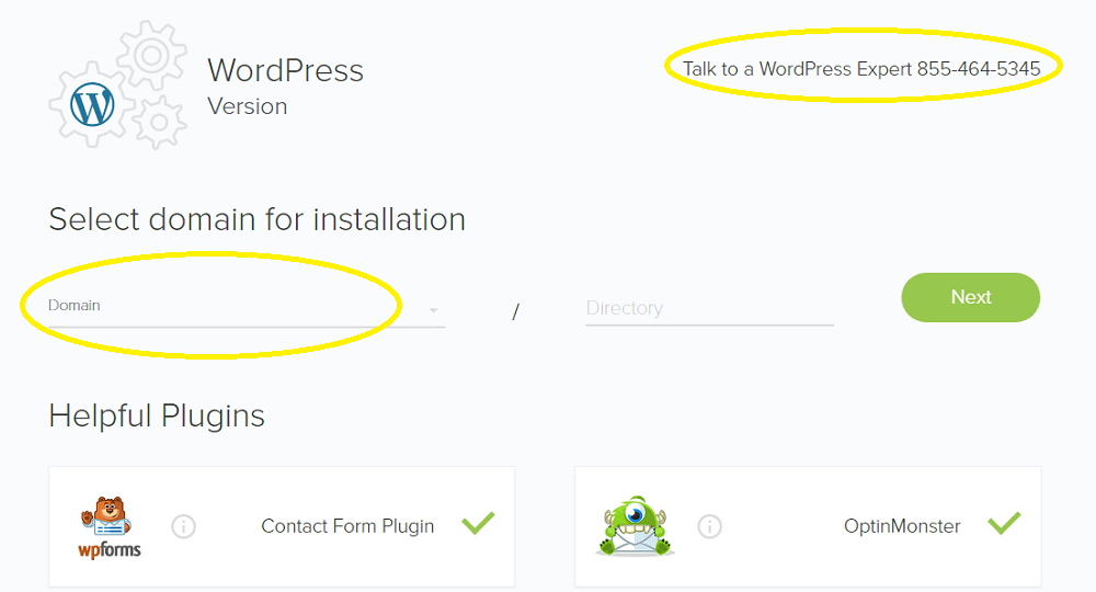 domain to install wordpress to bluehost